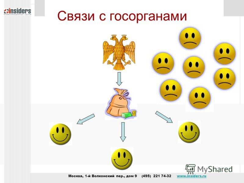 Москва, 1-й Волконский пер., дом 9 (495) 221 74-32 www.insiders.ruwww.insiders.ru Связи с госорганами