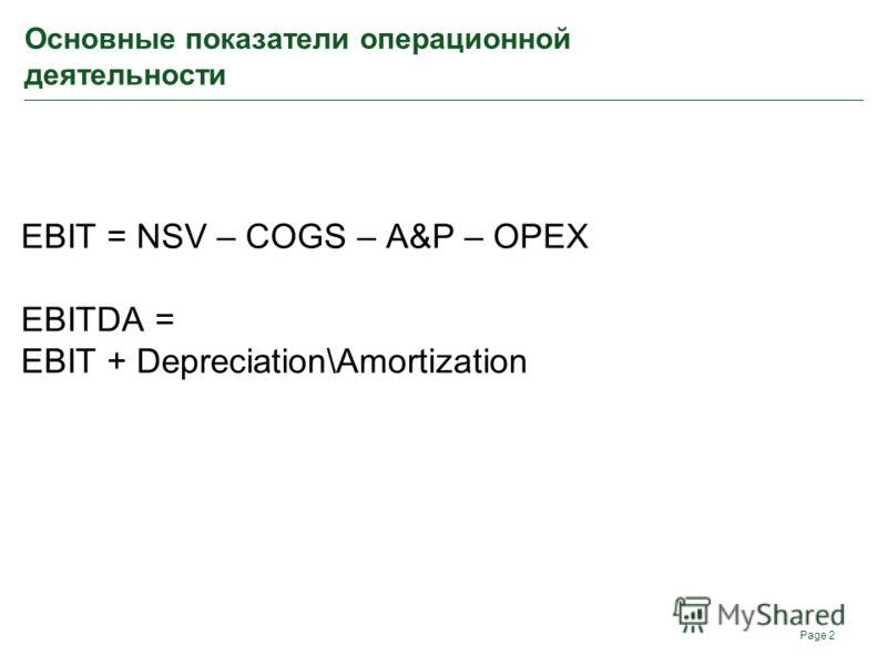 Основные показатели операционной деятельности EBIT = NSV – COGS – A&P – OPEX EBITDA = EBIT + Depreciation\Amortization Page 2
