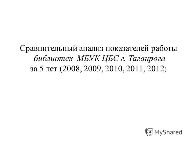 Сравнительный анализ показателей работы библиотек МБУК ЦБС г. Таганрога за 5 лет (2008, 2009, 2010, 2011, 2012 )