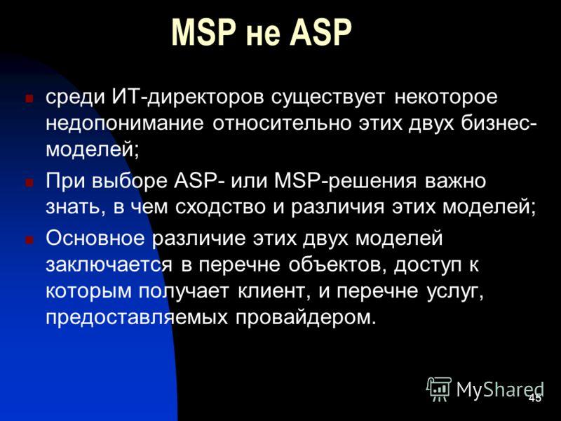 45 MSP не ASP среди ИТ-директоров существует некоторое недопонимание относительно этих двух бизнес- моделей; При выборе ASP- или MSP-решения важно знать, в чем сходство и различия этих моделей; Основное различие этих двух моделей заключается в перечн