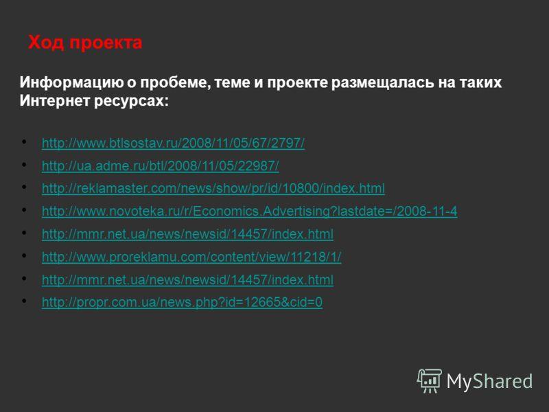 Информацию о пробеме, теме и проекте размещалась на таких Интернет ресурсах: http://www.btlsostav.ru/2008/11/05/67/2797/ http://ua.adme.ru/btl/2008/11/05/22987/ http://reklamaster.com/news/show/pr/id/10800/index.html http://www.novoteka.ru/r/Economic