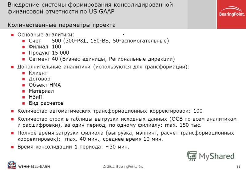 © 2011 BearingPoint, Inc11WIMM-BILL-DANN. Основные аналитики: Счет 500 (300-P&L, 150-BS, 50-вспомогательные) Филиал100 Продукт15 000 Сегмент40 (Бизнес единицы, Региональные дирекции) Дополнительные аналитики (используются для трансформации): Клиент Д