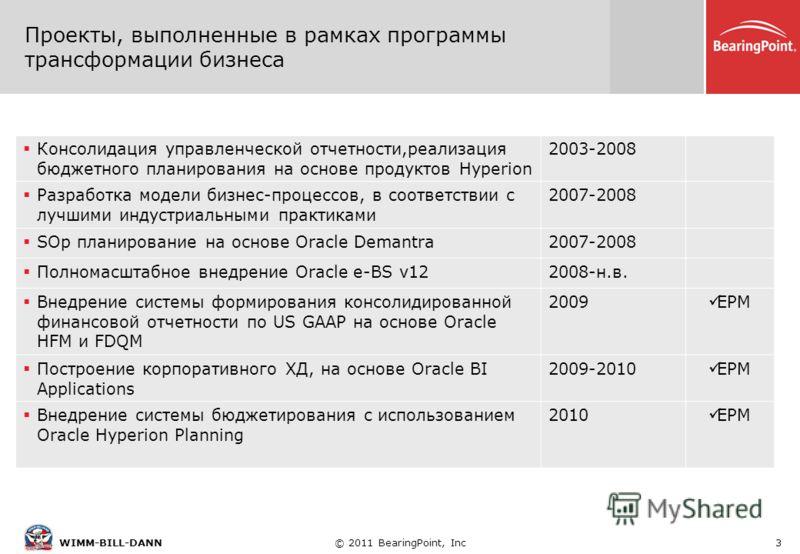 © 2011 BearingPoint, Inc3WIMM-BILL-DANN Проекты, выполненные в рамках программы трансформации бизнеса Консолидация управленческой отчетности,реализация бюджетного планирования на основе продуктов Hyperion 2003-2008 Разработка модели бизнес-процессов,