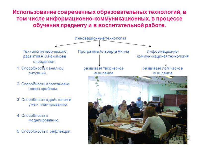 Использование современных образовательных технологий, в том числе информационно-коммуникационных, в процессе обучения предмету и в воспитательной работе. Инновационные технологии Технология творческого развития А.З.Рахимова определяет: Программа Альб
