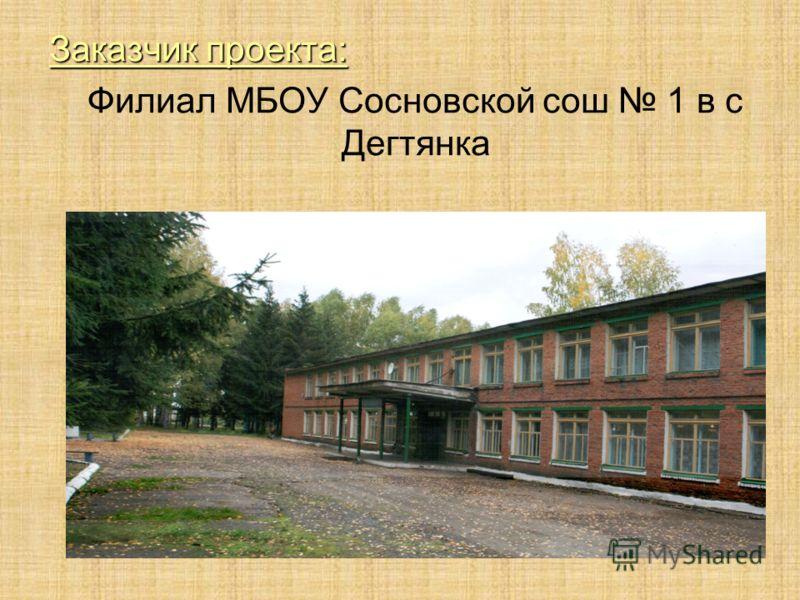 Заказчик проекта: Филиал МБОУ Сосновской сош 1 в с Дегтянка