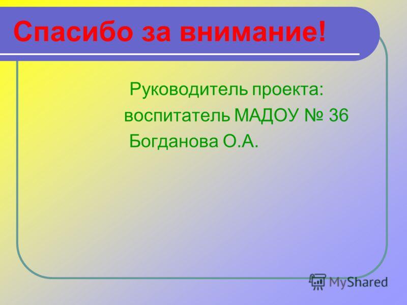 Спасибо за внимание! Руководитель проекта: воспитатель МАДОУ 36 Богданова О.А.