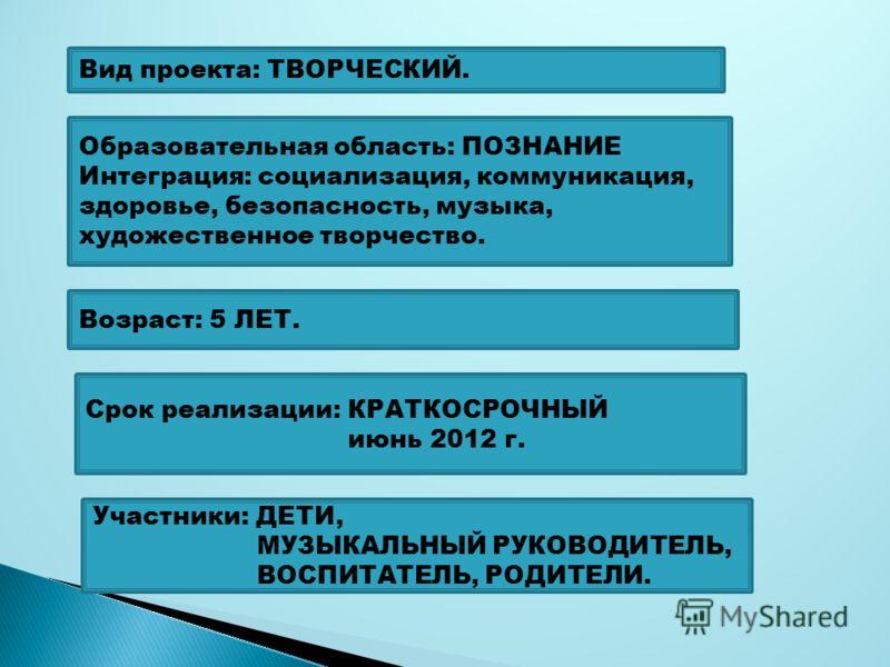 Вид проекта: ТВОРЧЕСКИЙ. Участники: ДЕТИ, МУЗЫКАЛЬНЫЙ РУКОВОДИТЕЛЬ, ВОСПИТАТЕЛЬ, РОДИТЕЛИ. Возраст: 5 ЛЕТ. Срок реализации: КРАТКОСРОЧНЫЙ июнь 2012 г. Образовательная область: ПОЗНАНИЕ Интеграция: социализация, коммуникация, здоровье, безопасность, м