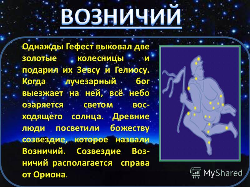Возничий Телец Близнецы Карта созвездий северного зимнего полушария неба