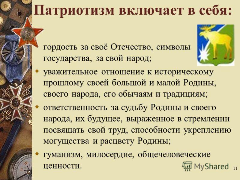 Патриотизм включает в себя: гордость за своё Отечество, символы государства, за свой народ; уважительное отношение к историческому прошлому своей большой и малой Родины, своего народа, его обычаям и традициям; ответственность за судьбу Родины и своег