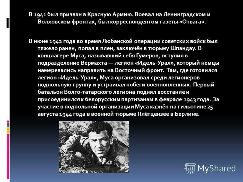 В 1941 был призван в Красную Армию. Воевал на Ленинградском и Волховском фронтах, был корреспондентом газеты «Отвага». В июне 1942 года во время Любанской операции советских войск был тяжело ранен, попал в плен, заключён в тюрьму Шпандау. В концлагер