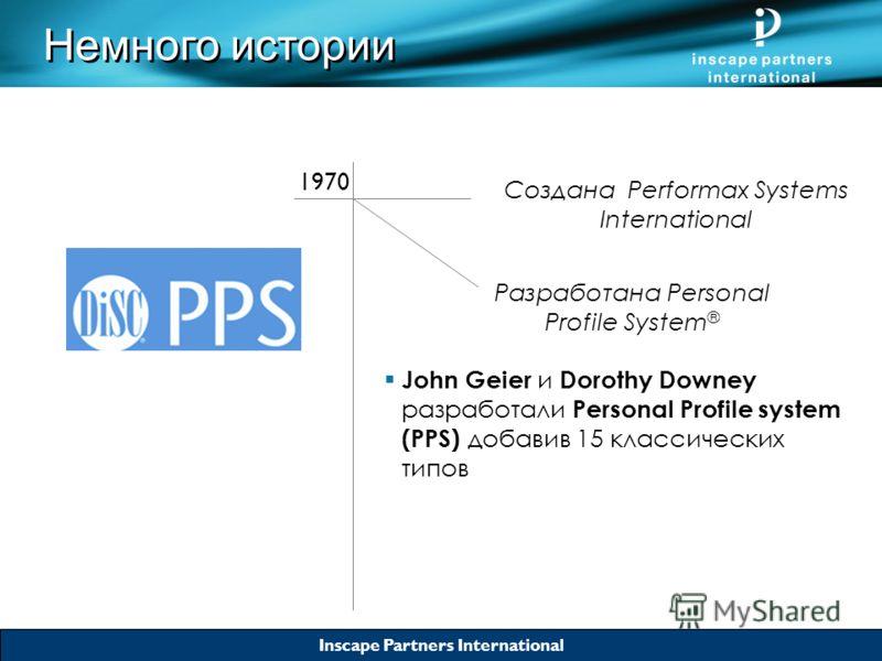 Inscape Partners International Создана Performax Systems International Разработана Personal Profile System ® 1970 John Geier и Dorothy Downey разработали Personal Profile system (PPS) добавив 15 классических типов Немного истории