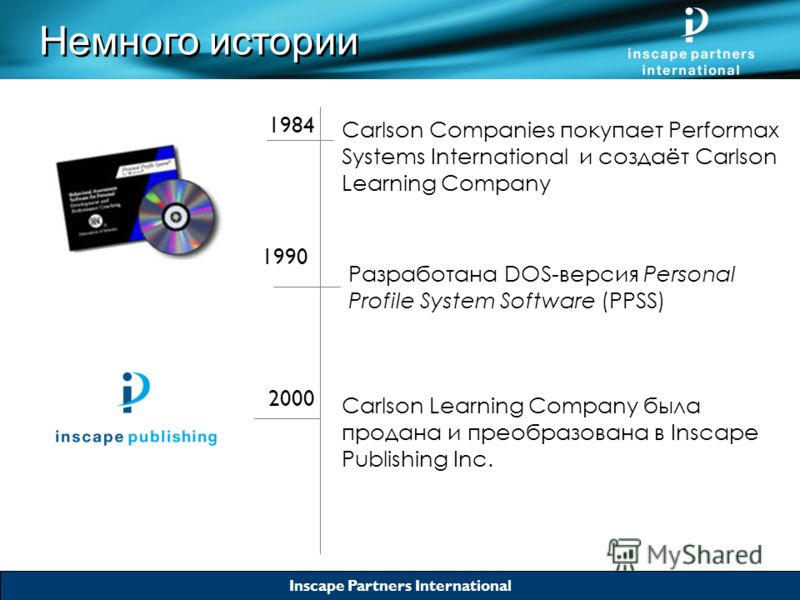 Inscape Partners International 1984 Carlson Companies покупает Performax Systems International и создаёт Carlson Learning Company 1990 Разработана DOS-версия Personal Profile System Software (PPSS) 2000 Carlson Learning Company была продана и преобра