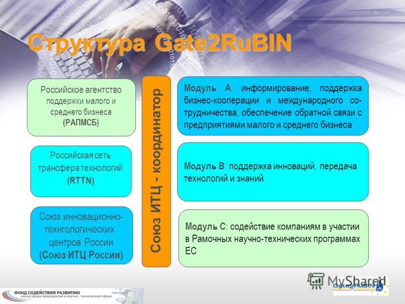 Структура Gate2RuBIN Союз инновационно- технгологических центров России (Союз ИТЦ России) Российская сеть трансфера технологий (RTTN) Российское агентство поддержки малого и среднего бизнеса (РАПМСБ) Союз ИТЦ - координатор Модуль А : информирование,