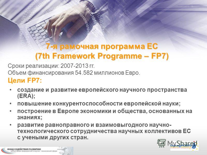 7-я рамочная программа ЕС (7th Framework Programme – FP7) Сроки реализации: 2007-2013 гг. Объем финансирования 54.582 миллионов Евро. Цели FP7: создание и развитие европейского научного пространства (ERA); повышение конкурентоспособности европейской