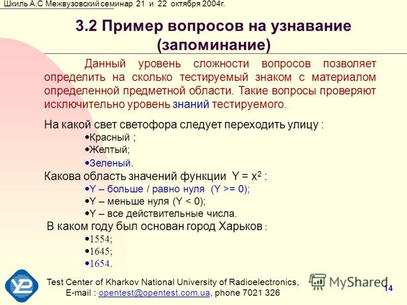 Test Center of Kharkov National University of Radioеlectronics, E-mail : opentest@opentest.com.ua, phone 7021 326opentest@opentest.com.ua Шкиль А.С Межвузовский семинар 21 и 22 октября 2004г. 14 3.2 Пример вопросов на узнавание (запоминание) Данный у