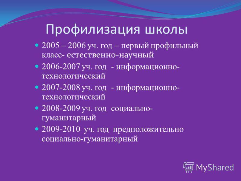 Профилизация школы 2005 – 2006 уч. год – первый профильный класс- естественно-научный 2006-2007 уч. год - информационно- технологический 2007-2008 уч. год - информационно- технологический 2008-2009 уч. год социально- гуманитарный 2009-2010 уч. год пр