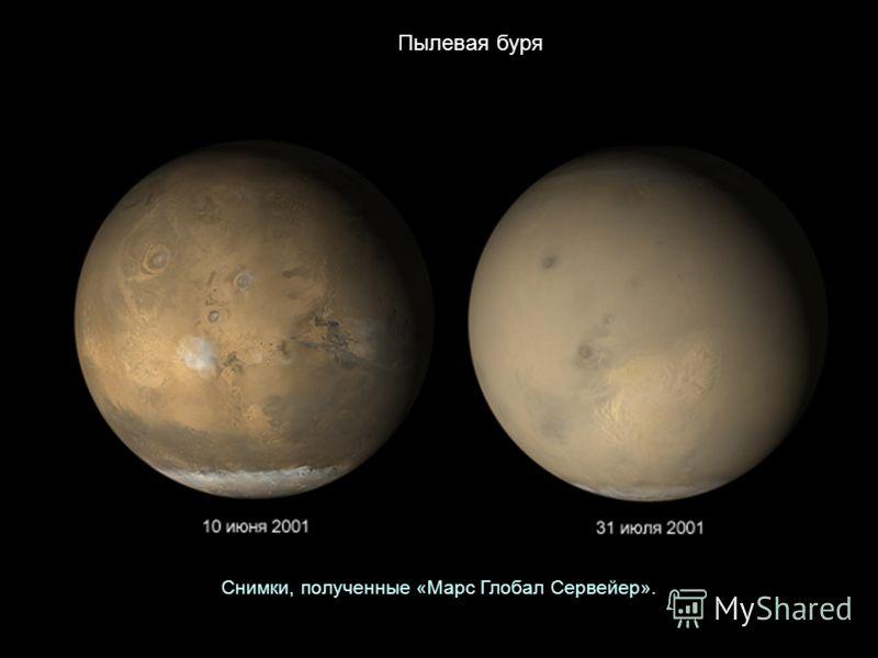 Пылевая буря Снимки, полученные «Марс Глобал Сервейер».