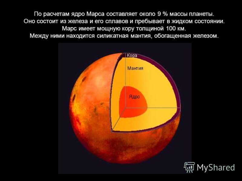 По расчетам ядро Марса составляет около 9 % массы планеты. Оно состоит из железа и его сплавов и пребывает в жидком состоянии. Марс имеет мощную кору толщиной 100 км. Между ними находится силикатная мантия, обогащенная железом.