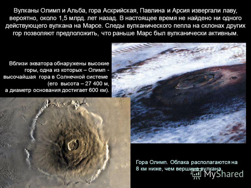Вулканы Олимп и Альба, гора Аскрийская, Павлина и Арсия извергали лаву, вероятно, около 1,5 млрд. лет назад. В настоящее время не найдено ни одного действующего вулкана на Марсе. Следы вулканического пепла на склонах других гор позволяют предположить
