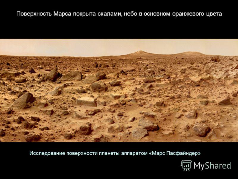 Поверхность Марса покрыта скалами, небо в основном оранжевого цвета Исследование поверхности планеты аппаратом «Марс Пасфайндер»