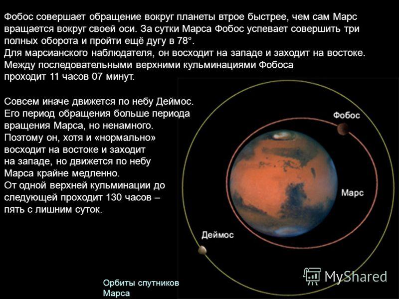 Совсем иначе движется по небу Деймос. Его период обращения больше периода вращения Марса, но ненамного. Поэтому он, хотя и «нормально» восходит на востоке и заходит на западе, но движется по небу Марса крайне медленно. От одной верхней кульминации до