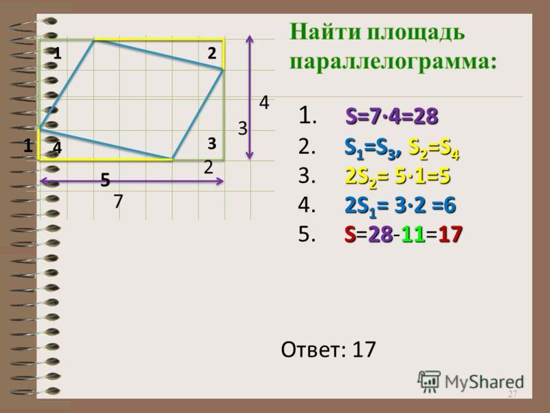 27 12 3 4 7 4 S=7·4=28 1. S=7·4=28 S 1 =S 3,S 2 =S 4 2. S 1 =S 3, S 2 =S 4 2S 2 = 5·1=5 3. 2S 2 = 5·1=5 2S 1 = 3·2 =6 4. 2S 1 = 3·2 =6 S281117 5. S=28-11=17 5 1 3 2 Ответ: 17
