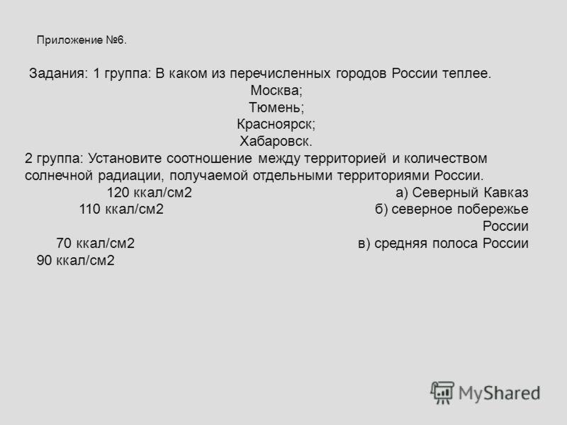 Приложение 6. Задания: 1 группа: В каком из перечисленных городов России теплее. Москва; Тюмень; Красноярск; Хабаровск. 2 группа: Установите соотношение между территорией и количеством солнечной радиации, получаемой отдельными территориями России. 12