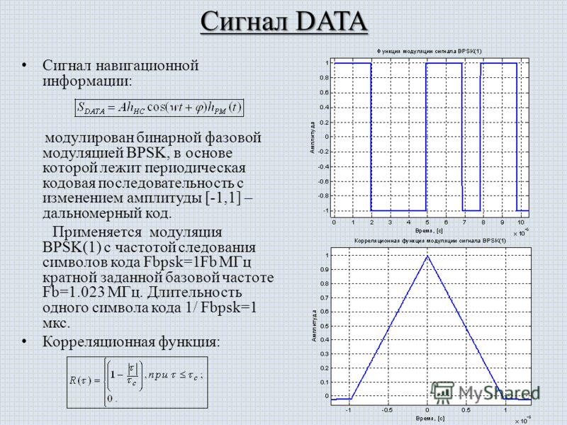 Сигнал DATA Сигнал навигационной информации: модулирован бинарной фазовой модуляцией BPSK, в основе которой лежит периодическая кодовая последовательность с изменением амплитуды [-1,1] – дальномерный код. Применяется модуляция BPSK(1) с частотой след