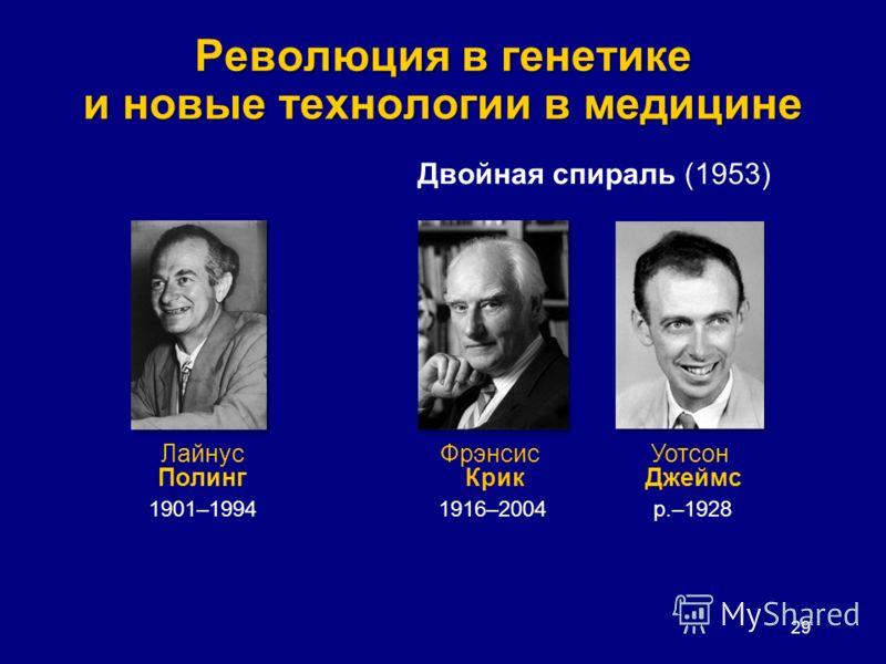 Революция в генетике и новые технологии в медицине 29 Лайнус Полинг 1901–1994 Фрэнсис Крик 1916–2004 Уотсон Джеймс р.–1928 Двойная спираль (1953)