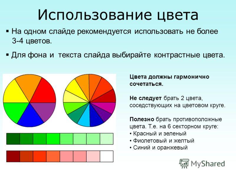 Использование цвета На одном слайде рекомендуется использовать не более 3-4 цветов. Для фона и текста слайда выбирайте контрастные цвета. Цвета должны гармонично сочетаться. Не следует брать 2 цвета, соседствующих на цветовом круге. Полезно брать про