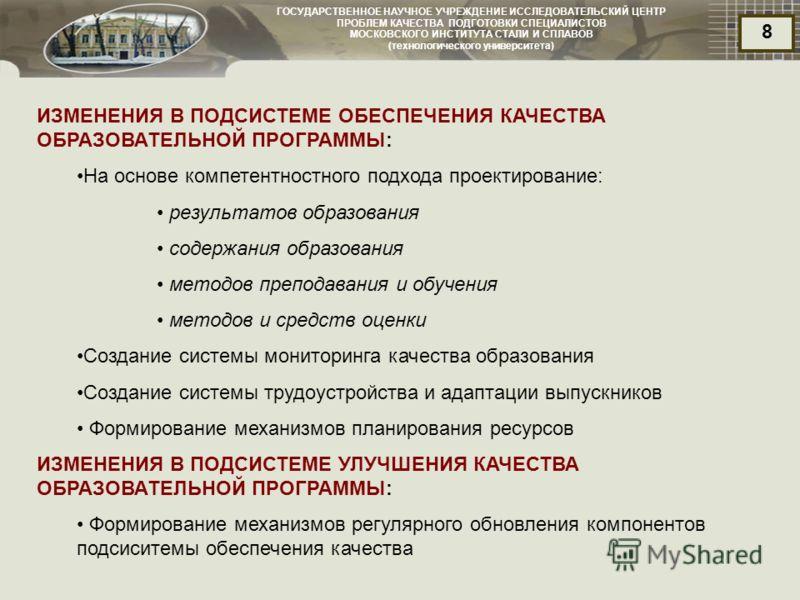 ГОСУДАРСТВЕННОЕ НАУЧНОЕ УЧРЕЖДЕНИЕ ИССЛЕДОВАТЕЛЬСКИЙ ЦЕНТР ПРОБЛЕМ КАЧЕСТВА ПОДГОТОВКИ СПЕЦИАЛИСТОВ МОСКОВСКОГО ИНСТИТУТА СТАЛИ И СПЛАВОВ (технологического университета) 8 ИЗМЕНЕНИЯ В ПОДСИСТЕМЕ ОБЕСПЕЧЕНИЯ КАЧЕСТВА ОБРАЗОВАТЕЛЬНОЙ ПРОГРАММЫ: На осно