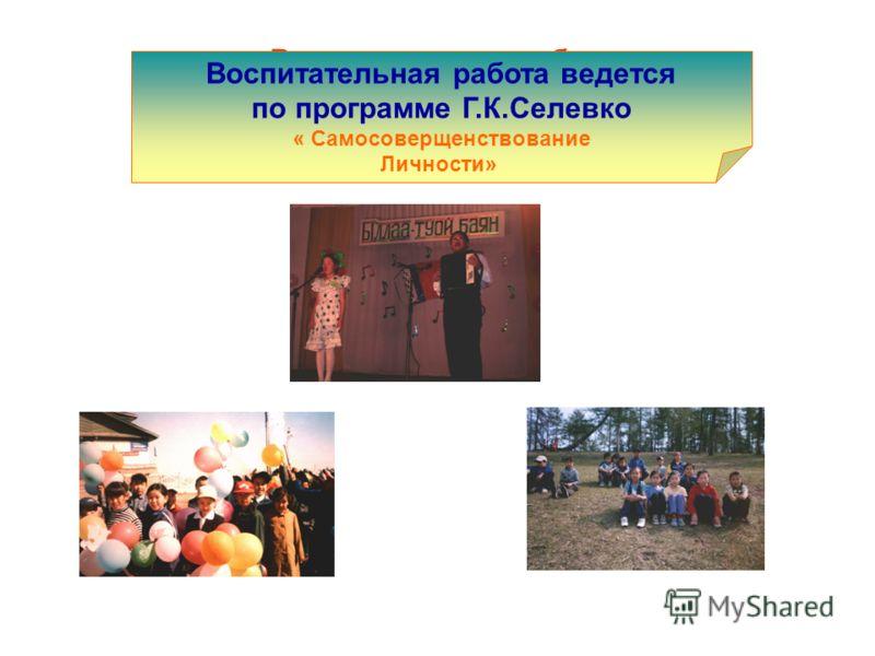 Воспитательная работа по программе СЕЛЕВКО Воспитательная работа ведется по программе Г.К.Селевко « Самосоверщенствование Личности»
