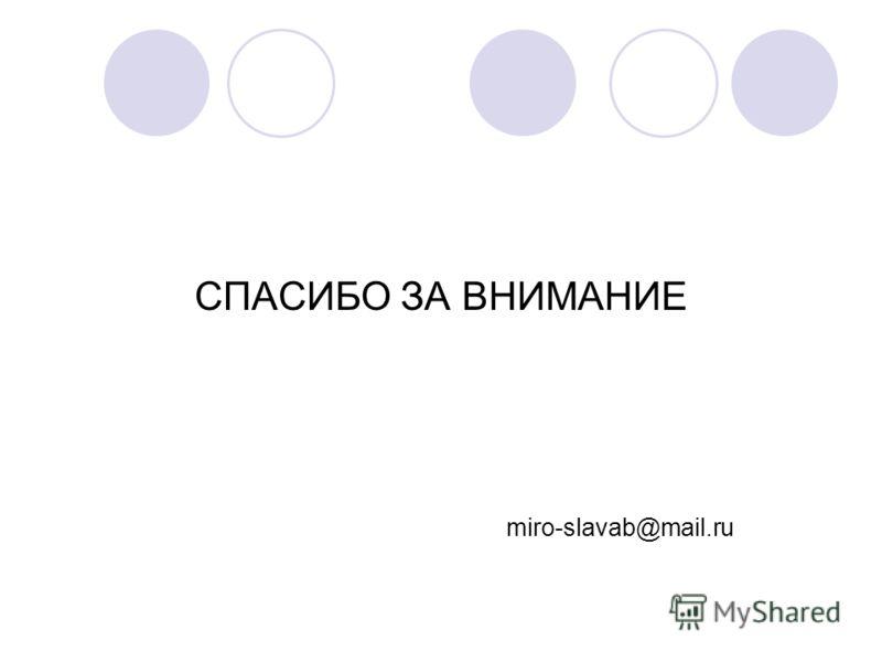 СПАСИБО ЗА ВНИМАНИЕ miro-slavab@mail.ru