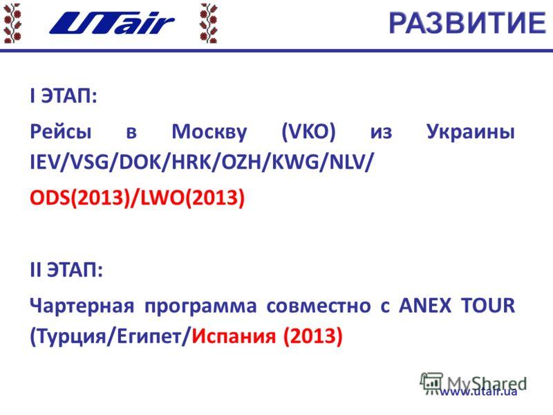 І ЭТАП: Рейсы в Москву (VKO) из Украины IEV/VSG/DOK/HRK/OZH/KWG/NLV/ ODS(2013)/LWO(2013) ІI ЭТАП: Чартерная программа совместно с ANEX TOUR (Турция/Египет/Испания (2013) www.utair.ua