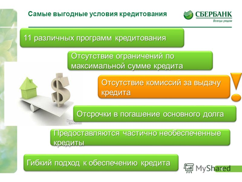 10 Самые выгодные условия кредитования 11 различных программ кредитования Отсутствие комиссий за выдачу кредита Гибкий подход к обеспечению кредита Отсутствие ограничений по максимальной сумме кредита Отсрочки в погашение основного долга Предоставляю
