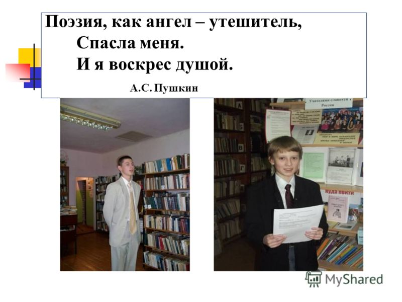 Поэзия, как ангел – утешитель, Спасла меня. И я воскрес душой. А.С. Пушкин