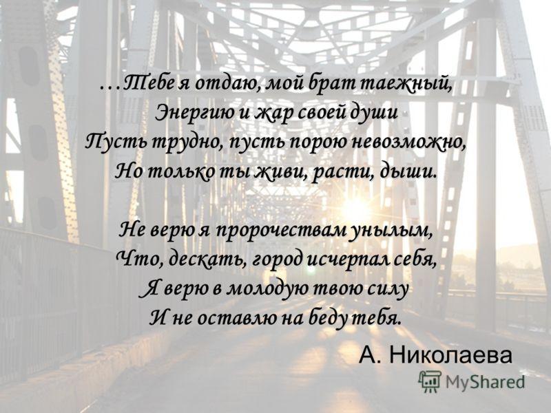 …Тебе я отдаю, мой брат таежный, Энергию и жар своей души Пусть трудно, пусть порою невозможно, Но только ты живи, расти, дыши. Не верю я пророчествам унылым, Что, дескать, город исчерпал себя, Я верю в молодую твою силу И не оставлю на беду тебя. А.