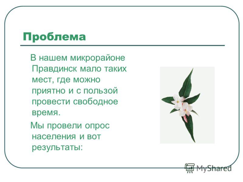 Проблема В нашем микрорайоне Правдинск мало таких мест, где можно приятно и с пользой провести свободное время. Мы провели опрос населения и вот результаты:
