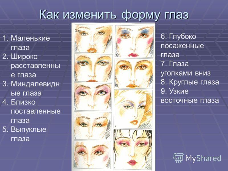 Как изменить форму глаз 1.Маленькие глаза 2.Широко расставленны е глаза 3.Миндалевидн ые глаза 4.Близко поставленные глаза 5.Выпуклые глаза 6. Глубоко посаженные глаза 7. Глаза уголками вниз 8. Круглые глаза 9. Узкие восточные глаза