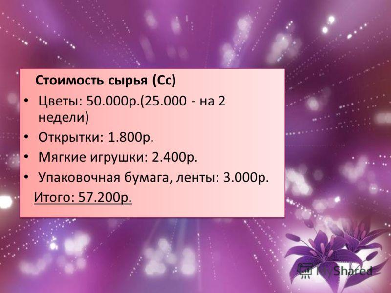 Стоимость сырья (Сс) Цветы: 50.000р.(25.000 - на 2 недели) Открытки: 1.800р. Мягкие игрушки: 2.400р. Упаковочная бумага, ленты: 3.000р. Итого: 57.200р. Стоимость сырья (Сс) Цветы: 50.000р.(25.000 - на 2 недели) Открытки: 1.800р. Мягкие игрушки: 2.400