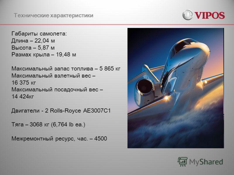 Технические характеристики Габариты самолета: Длина – 22,04 м Высота – 5,87 м Размах крыла – 19,48 м Максимальный запас топлива – 5 865 кг Максимальный взлетный вес – 16 375 кг Максимальный посадочный вес – 14 424кг Двигатели - 2 Rolls-Royce AE3007C1