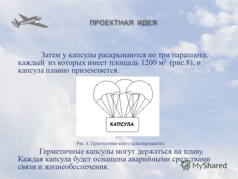 Затем у капсулы раскрываются по три парашюта, каждый из которых имеет площадь 1200 м 2 ( рис.8), и капсула плавно приземляется. Рис. 8. Приземление капсулы на парашютах Герметичные капсулы могут держаться на плаву. Каждая капсула будет оснащена авари