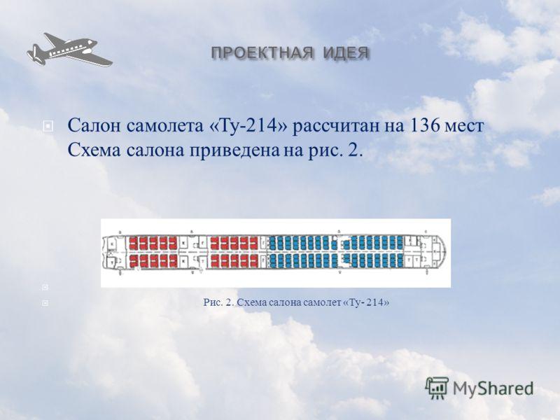Салон самолета « Ту -214» рассчитан на 136 мест Схема салона приведена на рис. 2. Рис. 2. Схема салона самолет « Ту - 214»