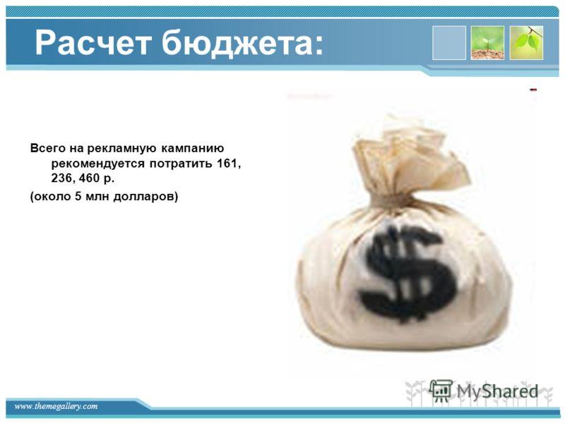 www.themegallery.com Расчет бюджета: Всего на рекламную кампанию рекомендуется потратить 161, 236, 460 р. (около 5 млн долларов)