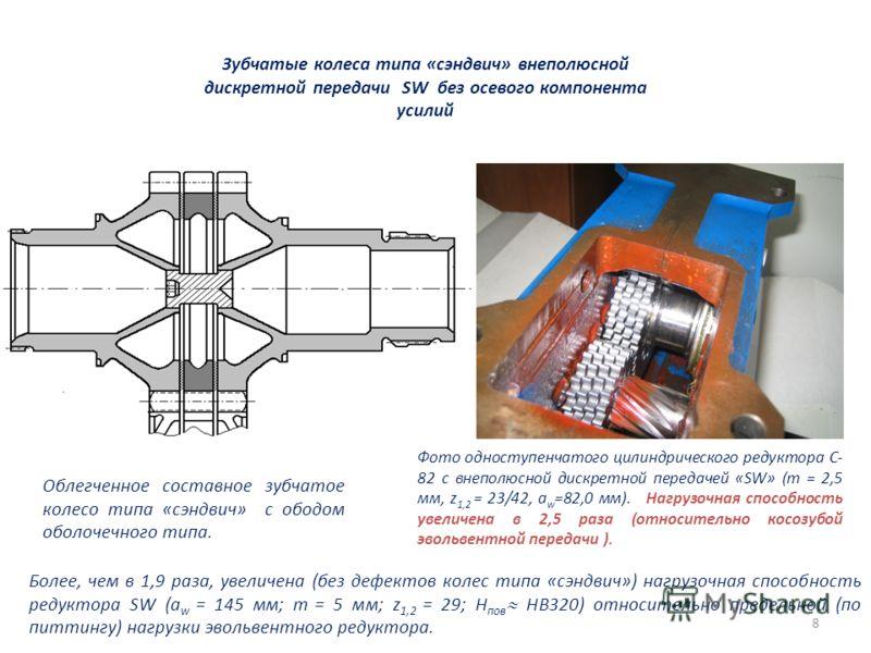 8 Облегченное составное зубчатое колесо типа «сэндвич» с ободом оболочечного типа. Фото одноступенчатого цилиндрического редуктора С- 82 с внеполюсной дискретной передачей «SW» (m = 2,5 мм, z 1,2 = 23/42, а w =82,0 мм). Нагрузочная способность увелич