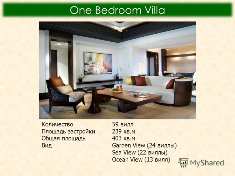 One Bedroom Villa Количество59 вилл Площадь застройки239 кв.м Общая площадь403 кв.м Вид Garden View (24 виллы) Sea View (22 виллы) Ocean View (13 вилл)