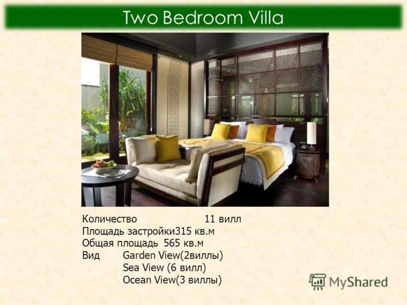 Two Bedroom Villa Количество11 вилл Площадь застройки315 кв.м Общая площадь565 кв.м Вид Garden View(2виллы) Sea View (6 вилл) Ocean View(3 виллы)