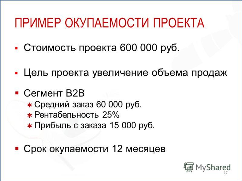 ПРИМЕР ОКУПАЕМОСТИ ПРОЕКТА Стоимость проекта 600 000 руб. Цель проекта увеличение объема продаж Сегмент B2B Средний заказ 60 000 руб. Рентабельность 25% Прибыль с заказа 15 000 руб. Срок окупаемости 12 месяцев 17