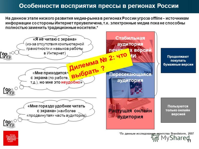 11 На данном этапе низкого развития медиа-рынка в регионах России угроза offline - источникам информации со стороны Интернет преувеличена, т.к. электронные медиа пока не способны полностью заменить традиционные носители.* Пользуются только онлайн вер