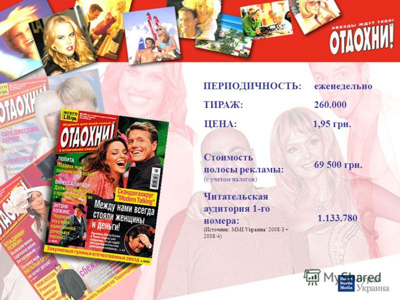 ЦЕНА: 1,95 грн. Стоимость полосы рекламы: (с учетом налогов) ТИРАЖ: 260.000 Читательская аудитория 1-го номера: (Источник: MMI Украина 2008/3 + 2008/4) 1.133.780 ПЕРИОДИЧНОСТЬ:еженедельно 69 500 грн.